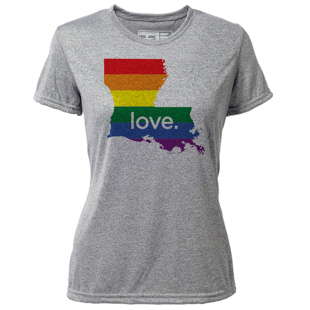 love. Louisiana + Womens SS Hybrid T