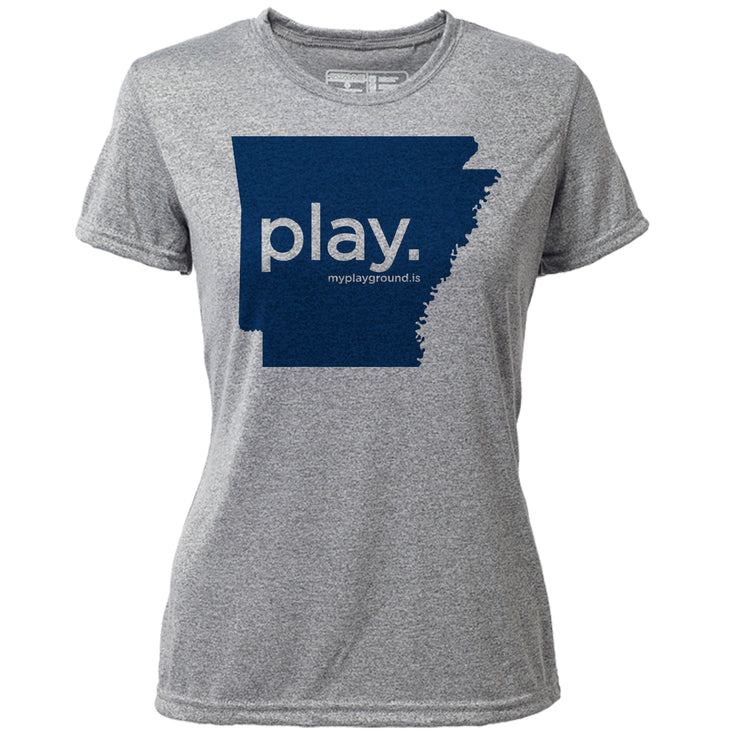 play. Arkansas + Womens SS Hybrid T