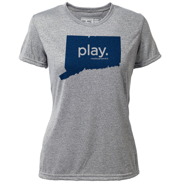 play. Connecticut + Womens SS Hybrid T