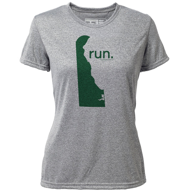 run. Delaware + Womens SS Hybrid T