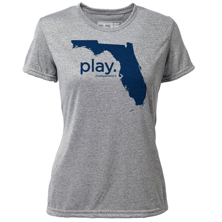 play. Florida + Womens SS Hybrid T