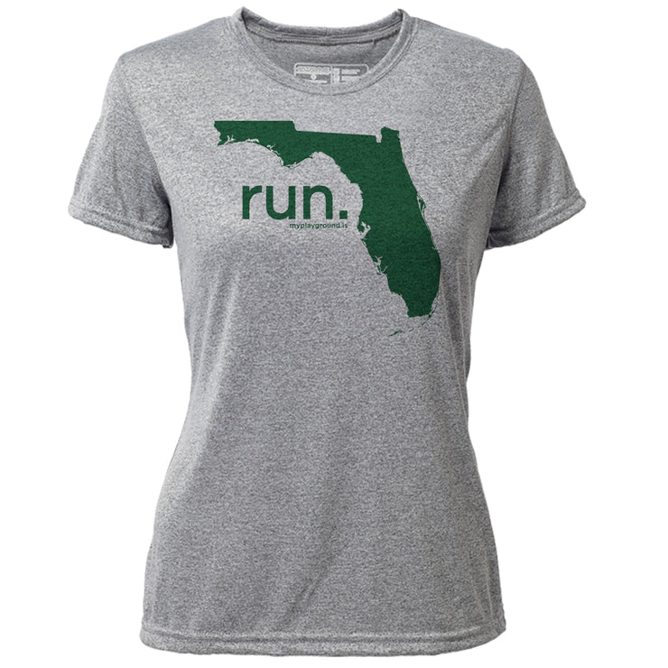 run. Florida + Womens SS Hybrid T