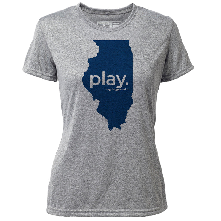 play. Illinois + Womens SS Hybrid T