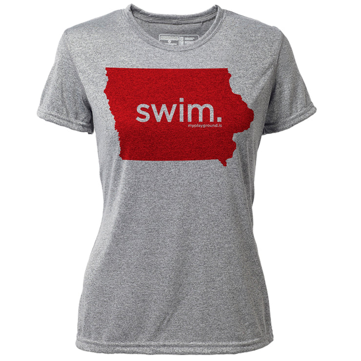 swim. Iowa + Womens SS Hybrid T