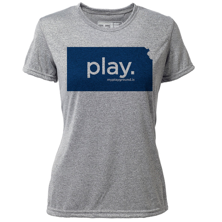 play. Kansas + Womens SS Hybrid T