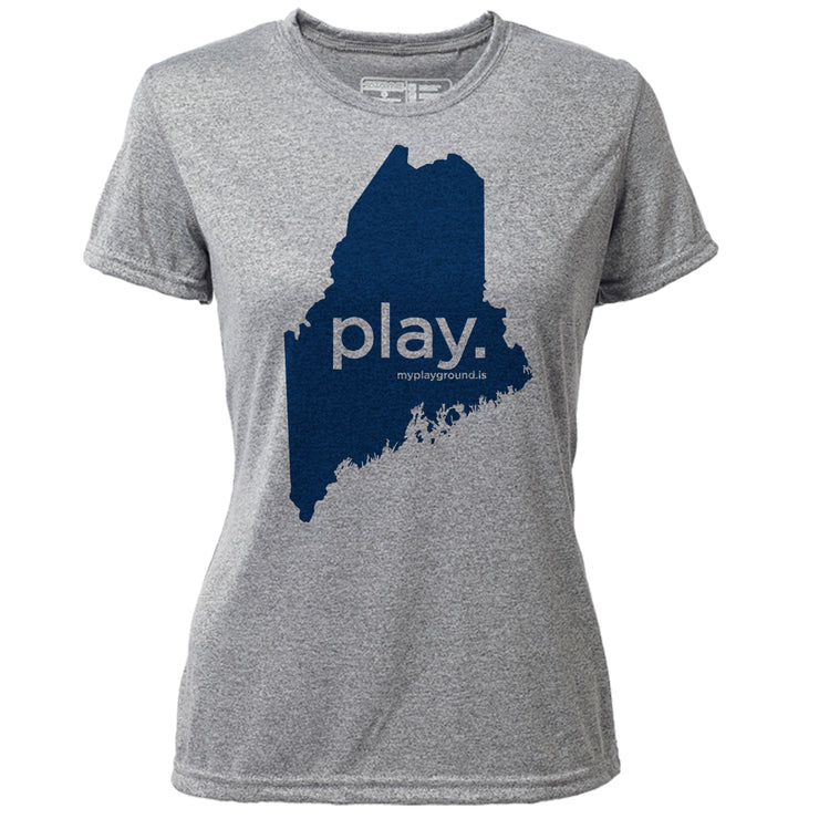play. Maine + Womens SS Hybrid T