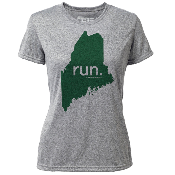 run. Maine + Womens SS Hybrid T