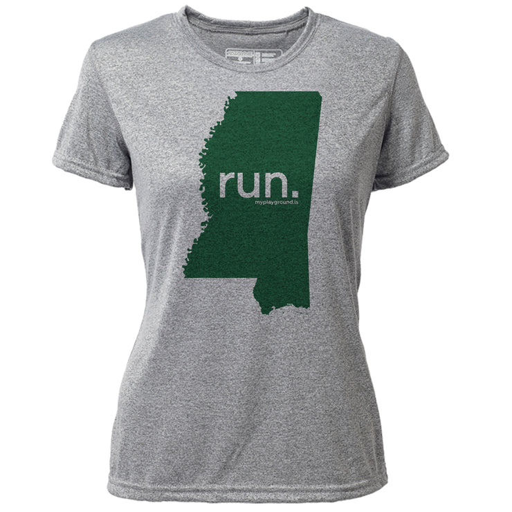 run. Mississippi + Womens SS Hybrid T