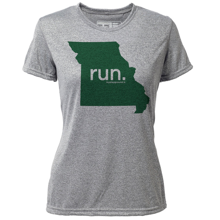 run. Missouri + Womens SS Hybrid T