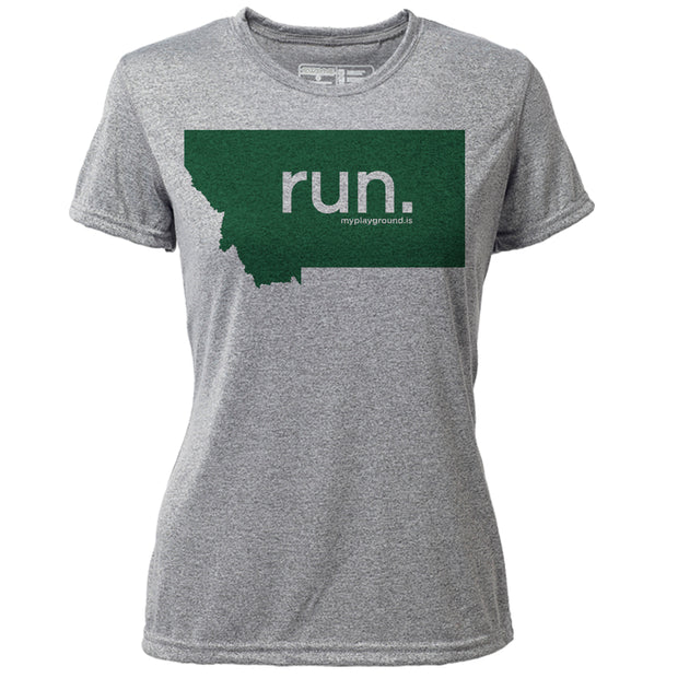 run. Montana + Womens SS Hybrid T
