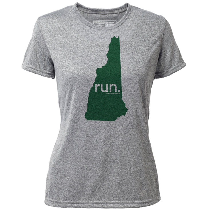run. New Hampshire + Womens SS Hybrid T