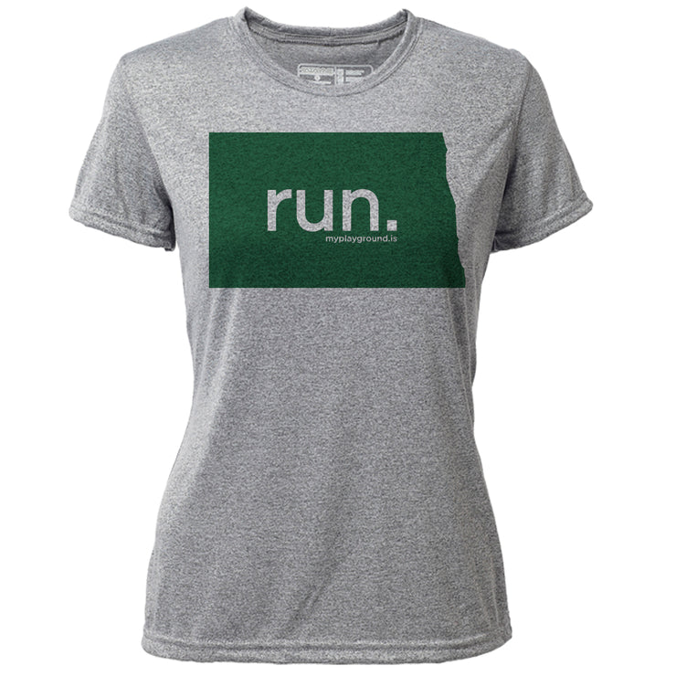 run. North Dakota + Womens SS Hybrid T