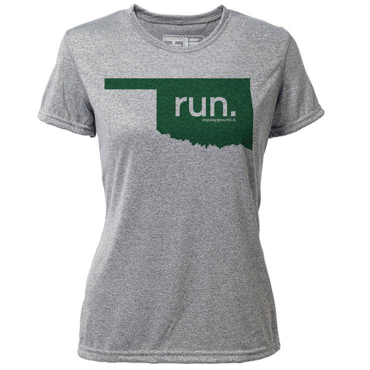 run. Oklahoma + Womens SS Hybrid T