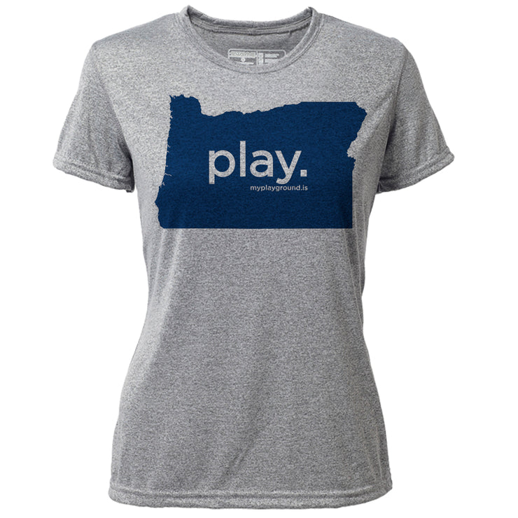 play. Oregon + Womens SS Hybrid T