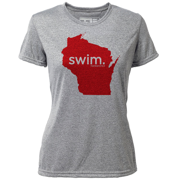 swim. Wisconsin + Womens SS Hybrid T