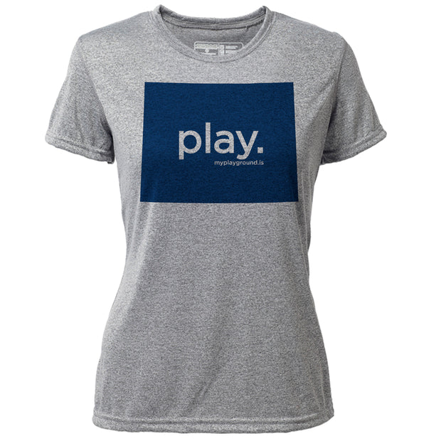 play. Wyoming + Womens SS Hybrid T