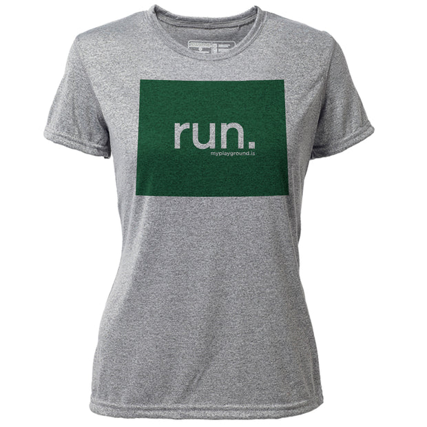 run. Wyoming + Womens SS Hybrid T