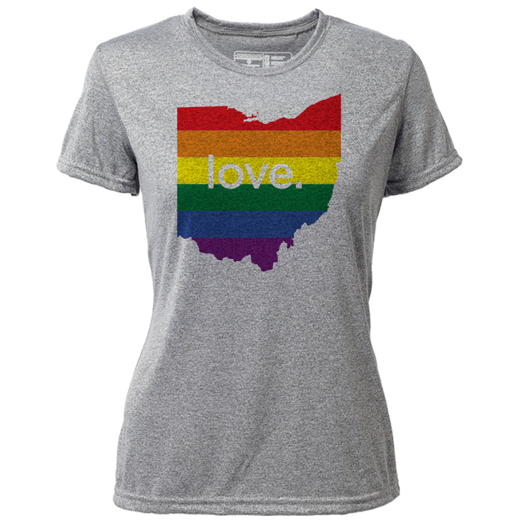 love. Ohio + Womens SS Hybrid T