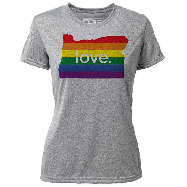 love. Oregon + Womens SS Hybrid T