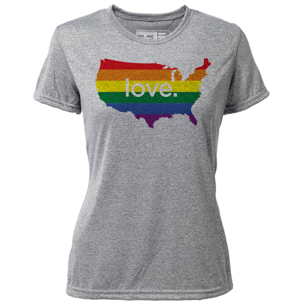 love. United States + Womens SS Hybrid T