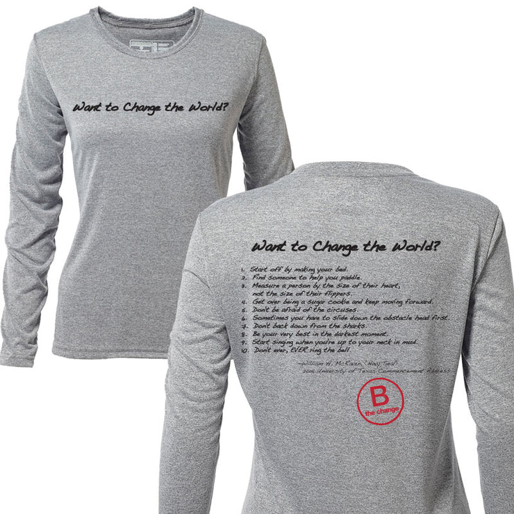Want to Change the World + Womens Long Sleeve Hybrid T