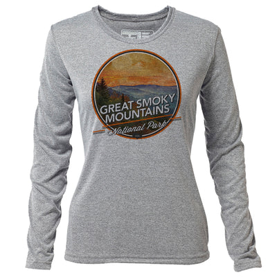 Great Smoky Mountains + Womens LS Hybrid T