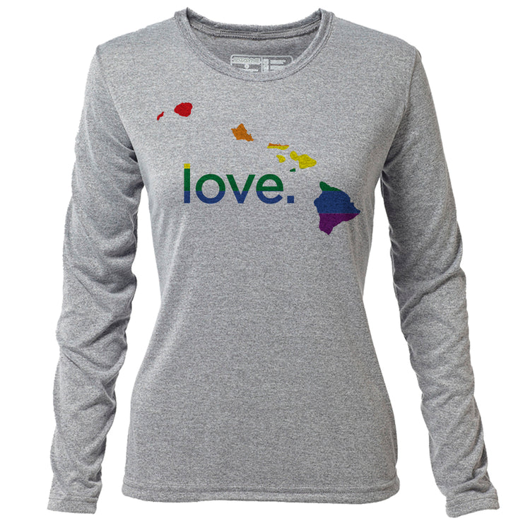 love. Hawaii + Womens LS Hybrid T