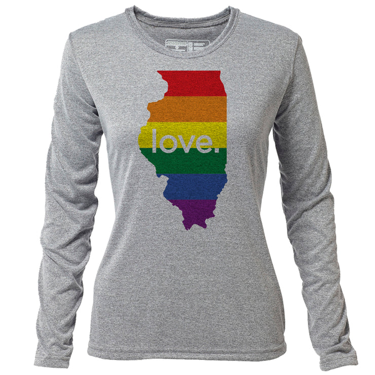 love. Illinois + Womens LS Hybrid T