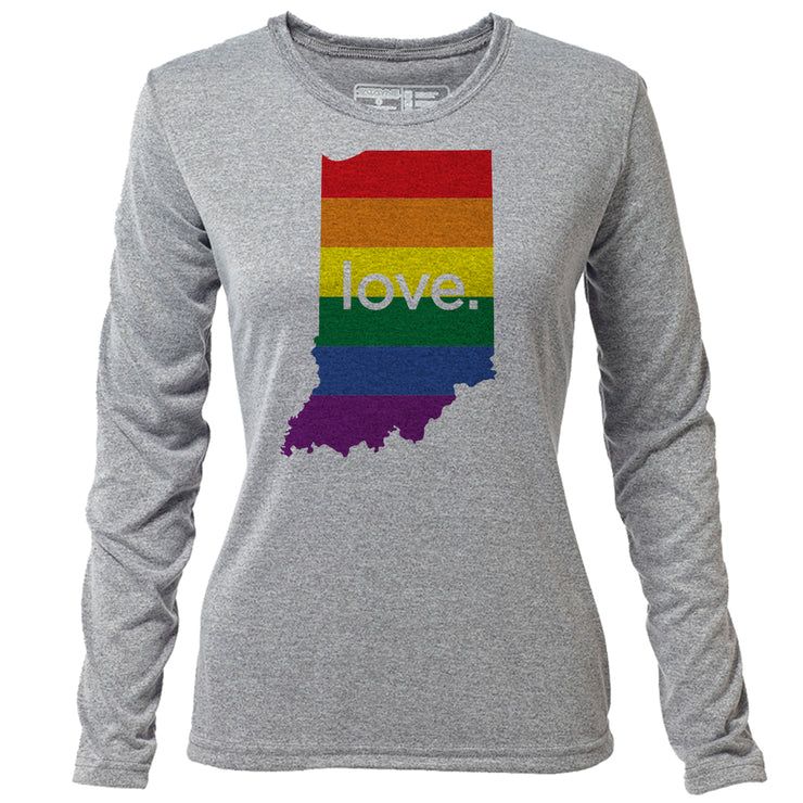love. Indiana + Womens LS Hybrid T