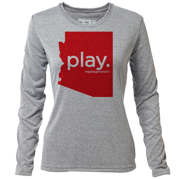 play. Arizona + Womens LS Hybrid T