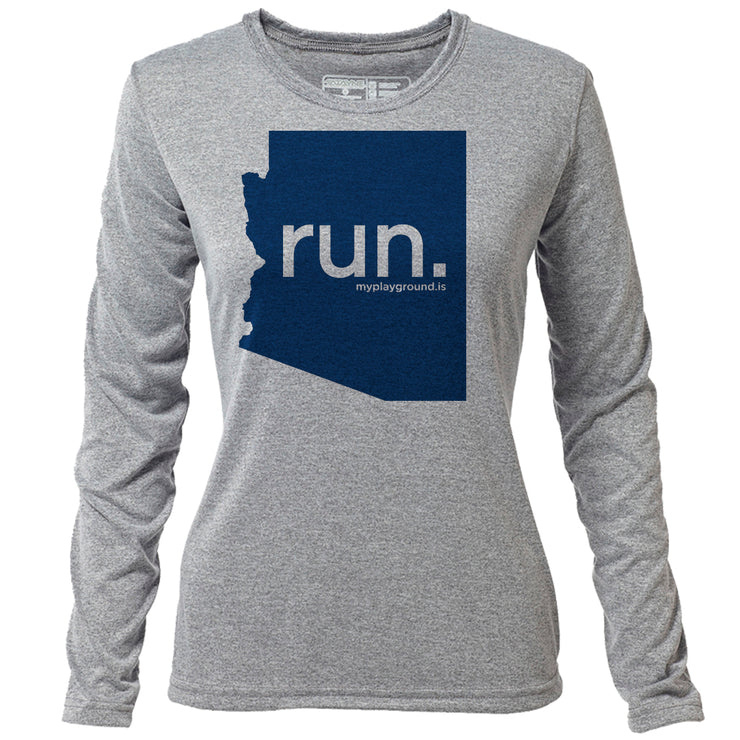run. Arizona + Womens LS Hybrid T