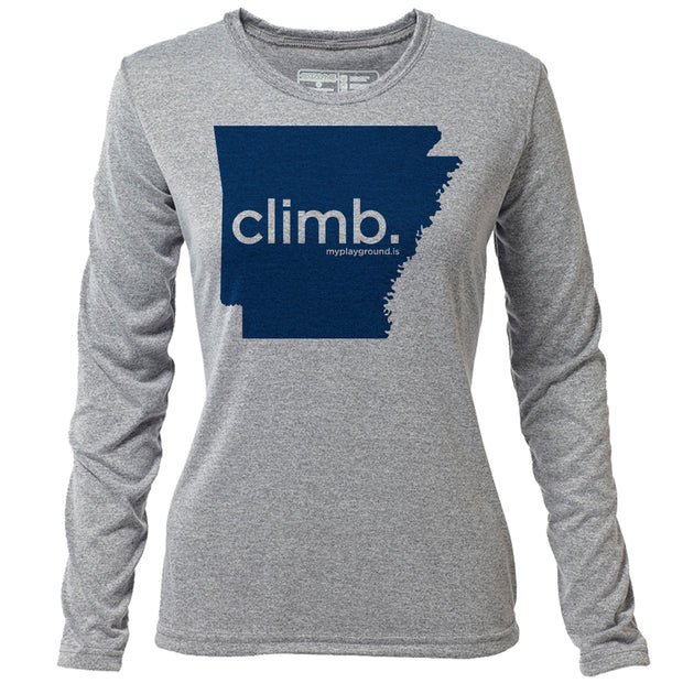 climb. Arkansas + Womens LS Hybrid T