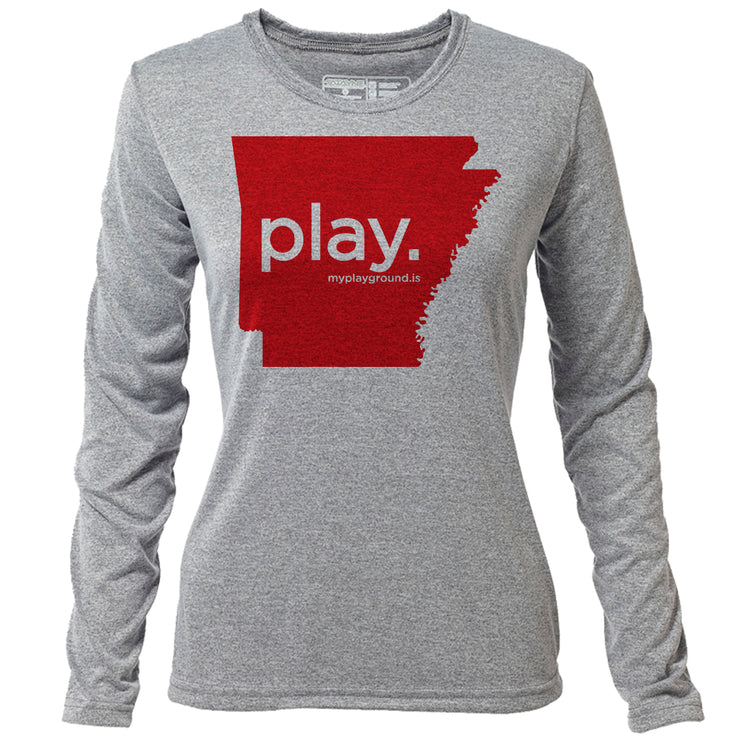 play. Arkansas + Womens LS Hybrid T