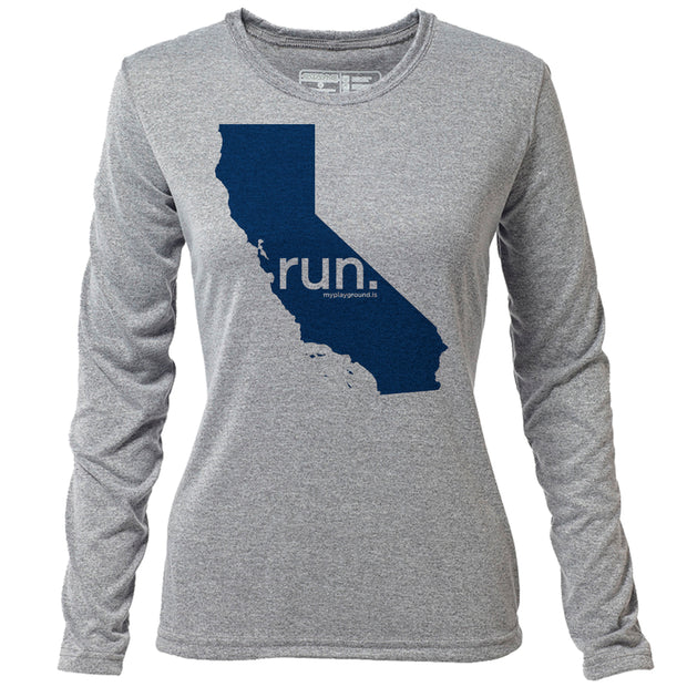 run. California + Womens LS Hybrid T
