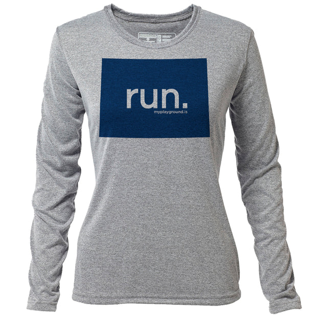run. Colorado + Womens LS Hybrid T
