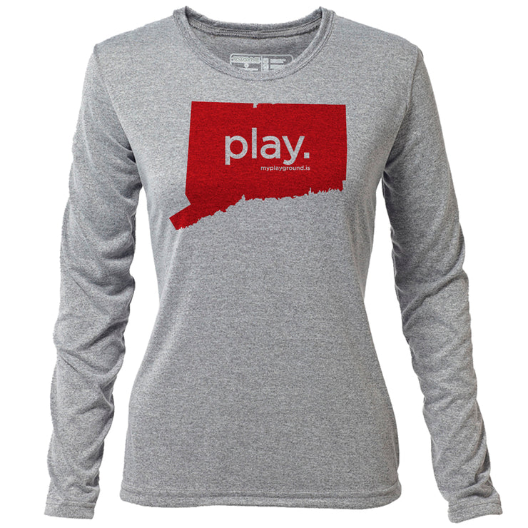 play. Connecticut + Womens LS Hybrid T