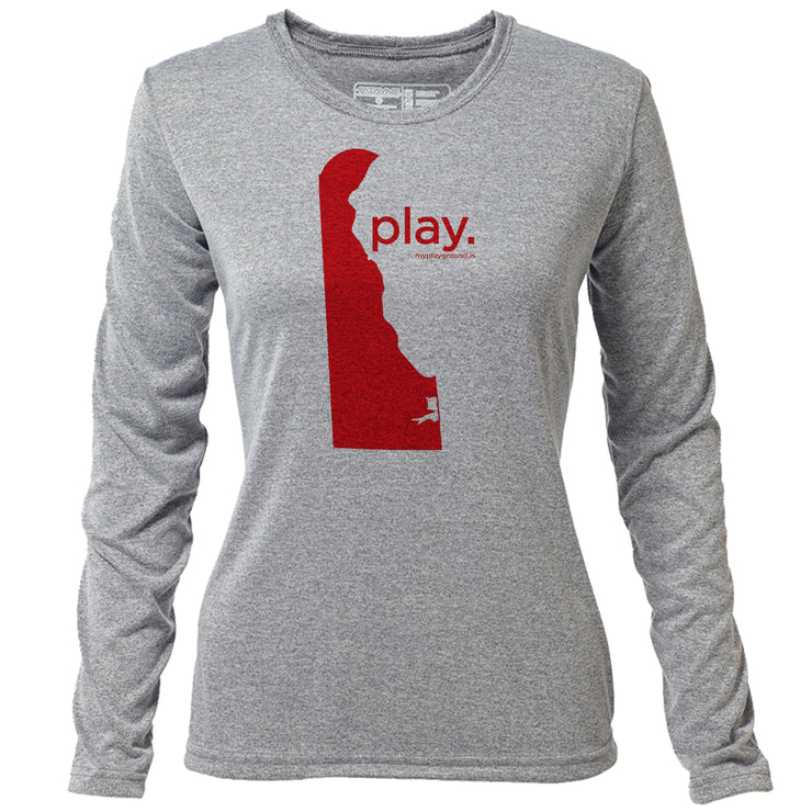 play. Delaware + Womens LS Hybrid T