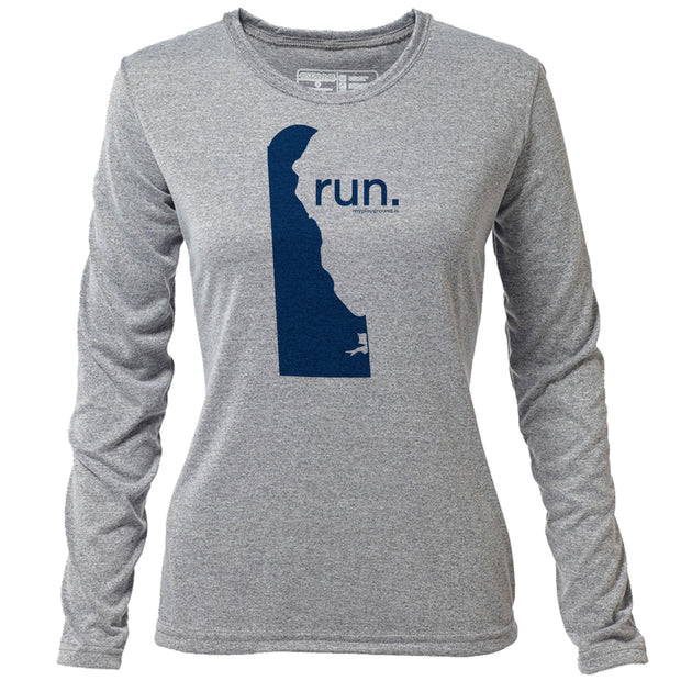 run. Delaware + Womens LS Hybrid T