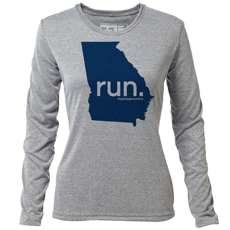 run. Georgia + Womens LS Hybrid T