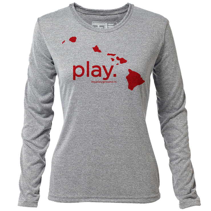 play. Hawaii + Womens LS Hybrid T