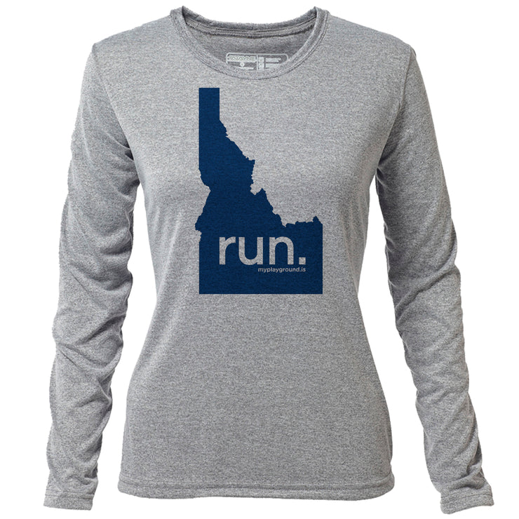 run. Idaho + Womens LS Hybrid T