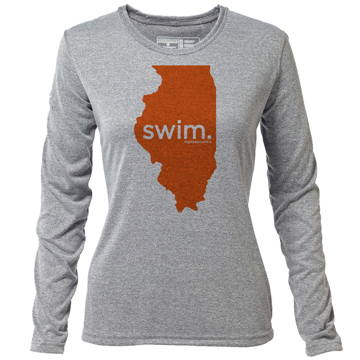 swim. Illinois + Womens LS Hybrid T