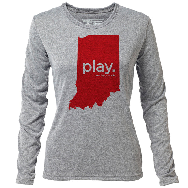 play. Indiana + Womens LS Hybrid T