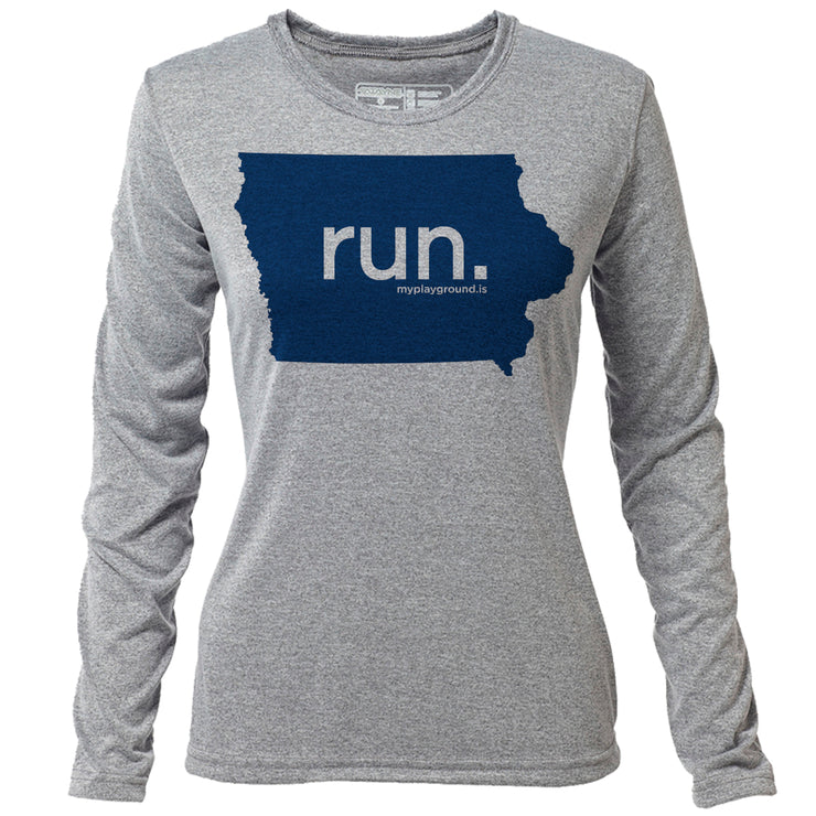 run. Iowa + Womens LS Hybrid T