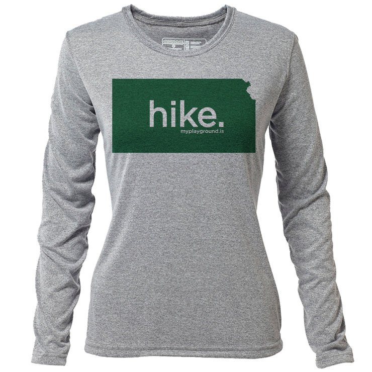 hike. Kansas + Womens LS Hybrid T