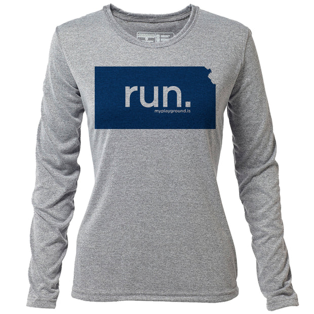 run. Kansas + Womens LS Hybrid T
