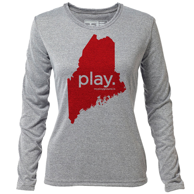 play. Maine + Womens LS Hybrid T