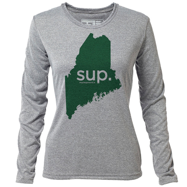 SUP. Maine + Womens LS Hybrid T