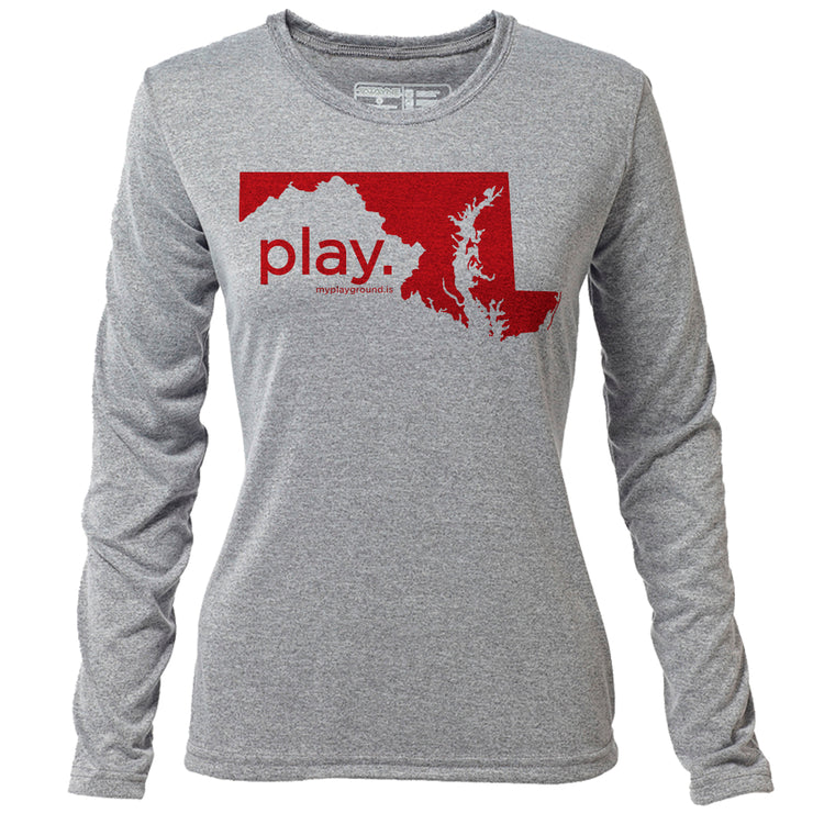 play. Maryland + Womens LS Hybrid T