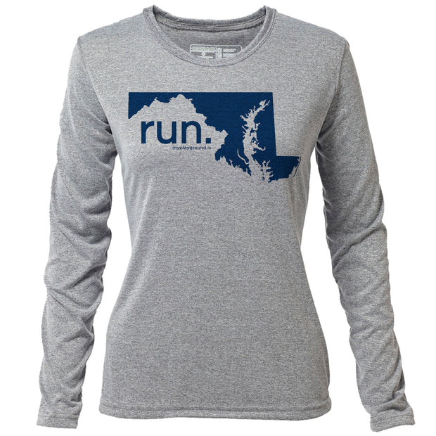 run. Maryland + Womens LS Hybrid T